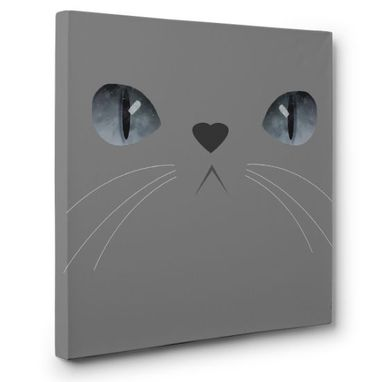 Custom Made Cute Grey Fur Cat Canvas Wall Art