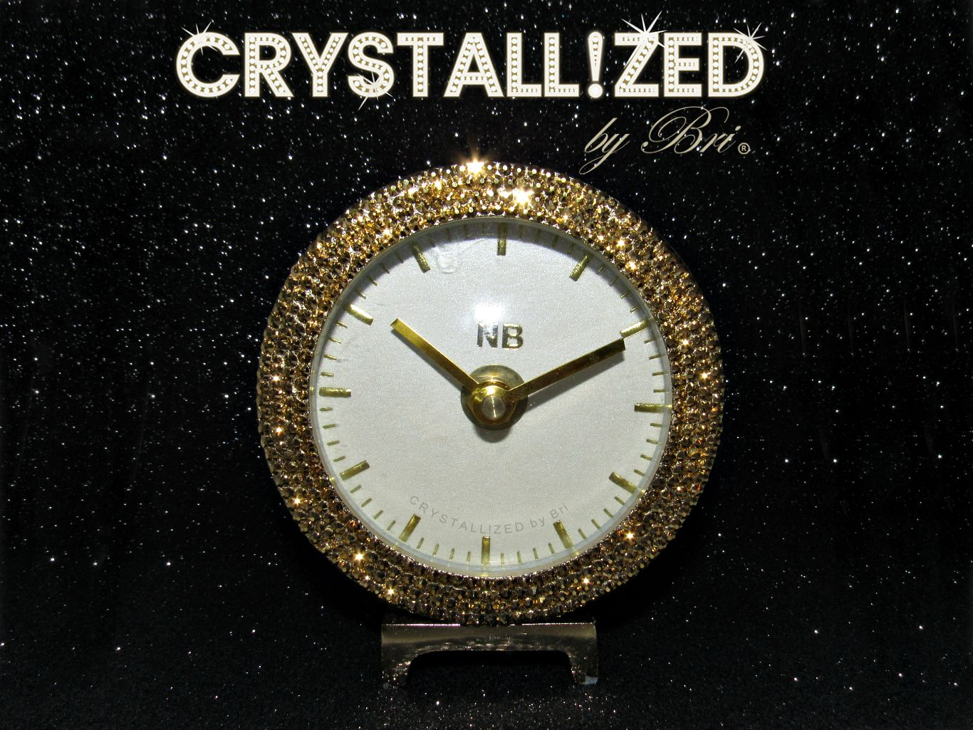d12ed80c60 Custom Made Crystallized Gold Desk Clock Office Bling Made With Swarovski  Crystals