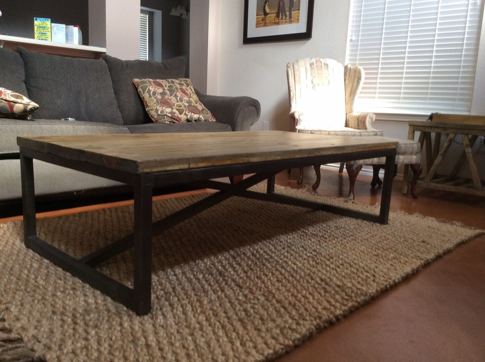 custom made rustic x brace coffee table with recycled metal frame - Metal Frame Coffee Table