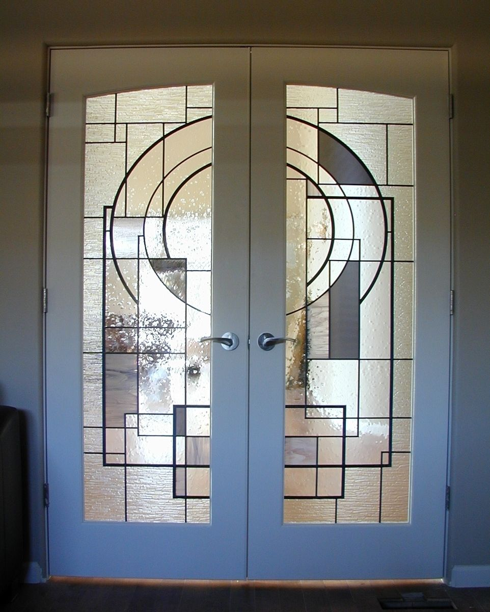 Hand crafted custom stained glass in french doors by for Custom transom