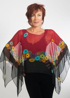 Custom Made Hand Painted Silk Crepe Georgette Poncho, Vienna