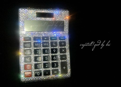 Custom Made Desktop Calculator Crystallized Office Desk Accessories Bling Swarovski Crystals Bedazzled