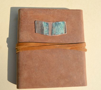 Custom Made Distressed Leather Bound Journal Handmade Brown Notebook Diary Copper Turquoise Chevron