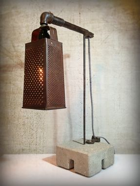 Custom Made Upcycled Recycled Grunge Minimalist Reclaimed Metal And Concrete Lamp