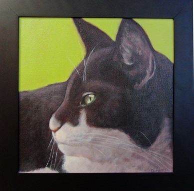 Custom Made Original Black And White Cat Painting On Lime Background - Original Cat Art