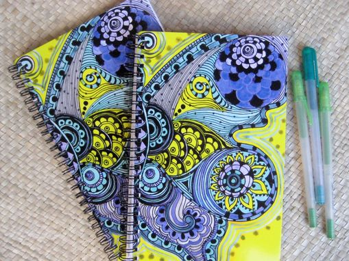 Custom Made Journal Spiral Notebook Diary With Original Butterfly Artwork-Yellow Purple Black Ink