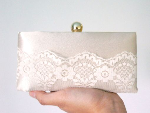 Custom Made Champagne Shell Clutch Purse With Lace Accent