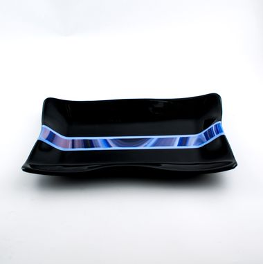 Custom Made Black And Blue Fused Glass Serving Tray