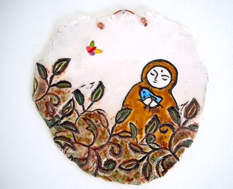 Custom Made Ceramic Jizo In The Meditation Garden Pottery Plaque - Blue Bird Of Happiness Namaste Wall Hanging