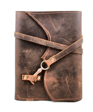 Custom Made Nottinghill Refillable Leather Journal With Antique Key – Chocolate Brown