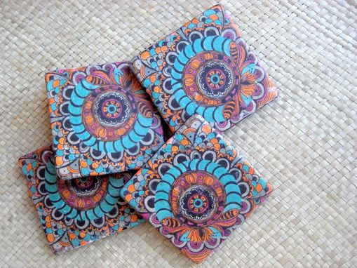 Custom Made Handmade Coasters With Original Artwork-Set Of 4 Turquoise Orange Magenta