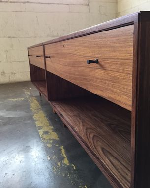 Custom Made Mid Century Modern Style Bedside Table In Walnut