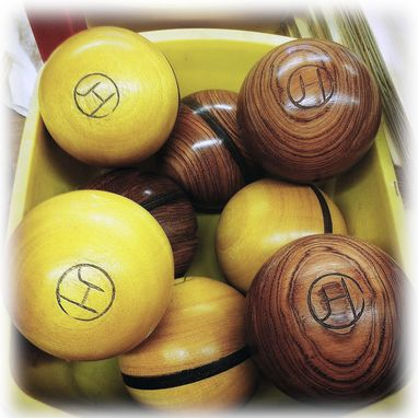 Custom Made Bocce Sets With Contrasting Woods