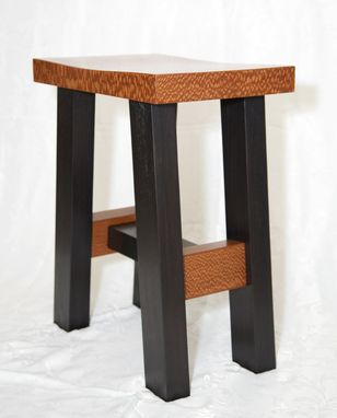 Custom Made Leopardwood And African Mahogany Stool