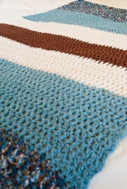 Custom Made Vintage, Sea Blue, And Brown Bamboo Throw - Made To Order