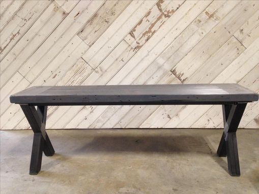 Custom Made Reclaimed Barn Wood Kitchen Table With Steel X Legs