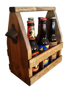 Custom Made Beer Tote, Handmade Beer Carrier, Wooden Craft Beer Tote, Walnut Stain