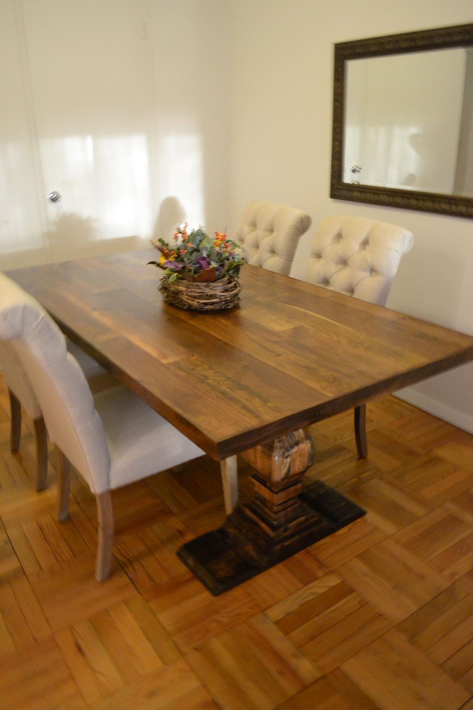 30 Ways To Create A Trendy Industrial Dining Room: Hand Made 5 Foot Dining Room Table. Mixed Species Wood