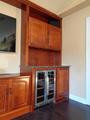 Custom Made Maple Media Cabinet Wall With Dry Bar