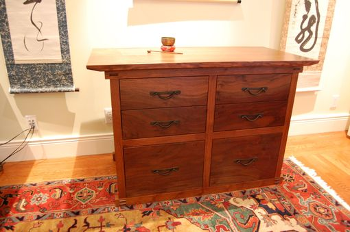 Custom Made Claro Walnut Tansu-Style File Cabinet