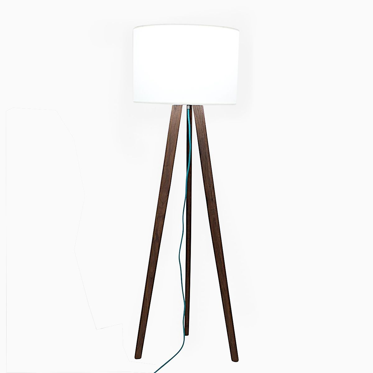 Buy a handmade solid walnut mid century modern tripod floor lamp custom made solid walnut mid century modern tripod floor lamp with teal cord aloadofball Gallery