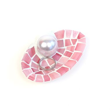 Custom Made Nautical Large Pink Seashell Wedding Ring Holder