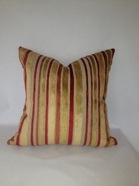 Custom Made Gold And Red Striped Velvet Pillow Cover