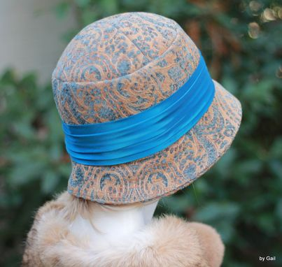 Custom Made 20'S Flapper Great Gatsby Cloche Hat In A Floral Tapestry Fabric
