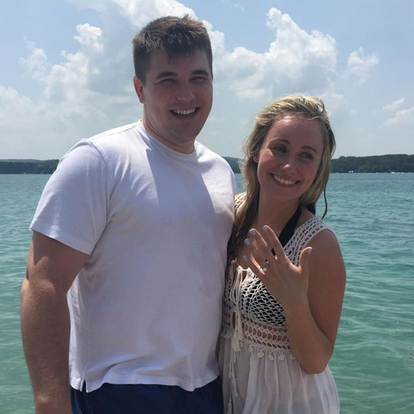 """""""The engagement ring that was designed and created by the CustomMade team received rave reviews and my now fiancée said it is exactly what she envisioned, but better! Thanks so much CustomMade!"""" - Travis & Brittany"""