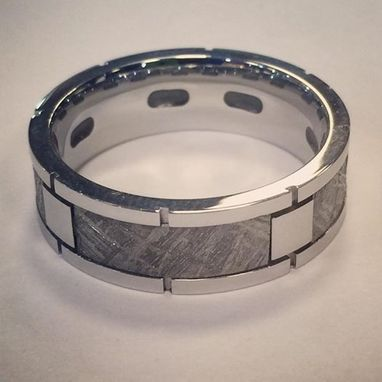Custom Made Meteorite And Titanium Wedding Band