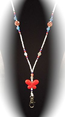 Custom Made Red, White, And Blue Butterfly Beaded Lanyard