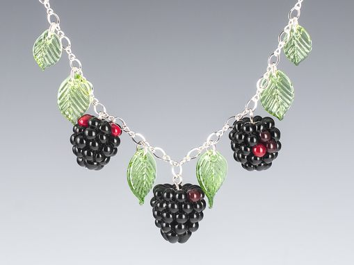 Custom Made Glass Blackberry Necklace With Leaves