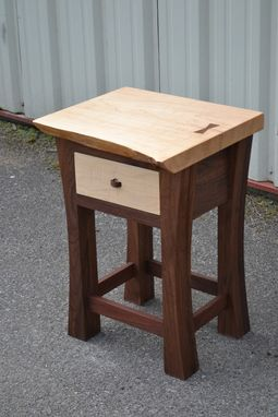 Custom Made Live Edge Maple Night Stand With Walnut Base.