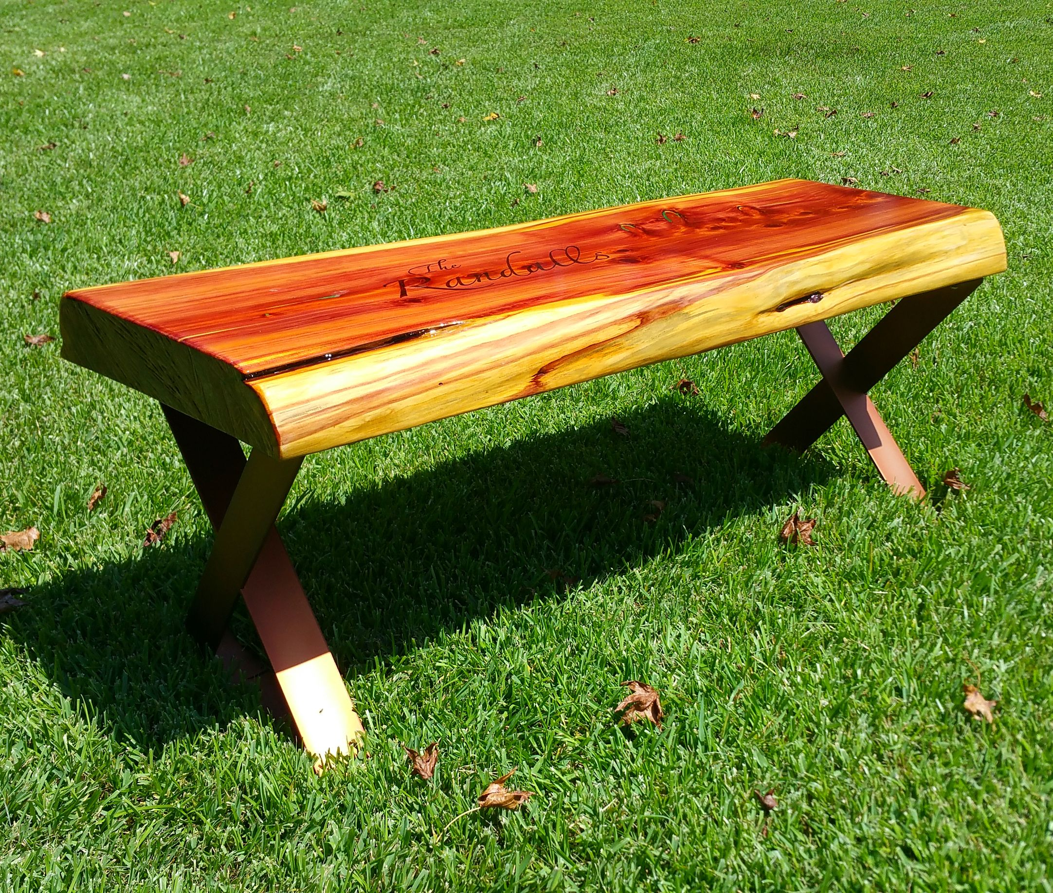 Awe Inspiring Hand Crafted Live Edge Cedar Bench With Steel Powder Coated Evergreenethics Interior Chair Design Evergreenethicsorg