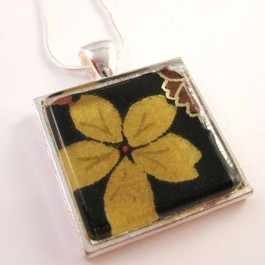 Custom Made Square Glass Tile Pendant With Olive And Black Design