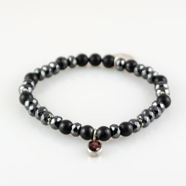 Custom Made Bracelet Dhyan Hematite And Black Onyx With Silver And Garnet Charm
