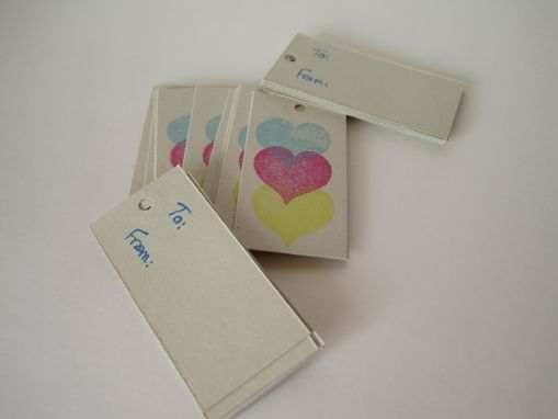 Custom Made Technicolor Hearts Gift Tags