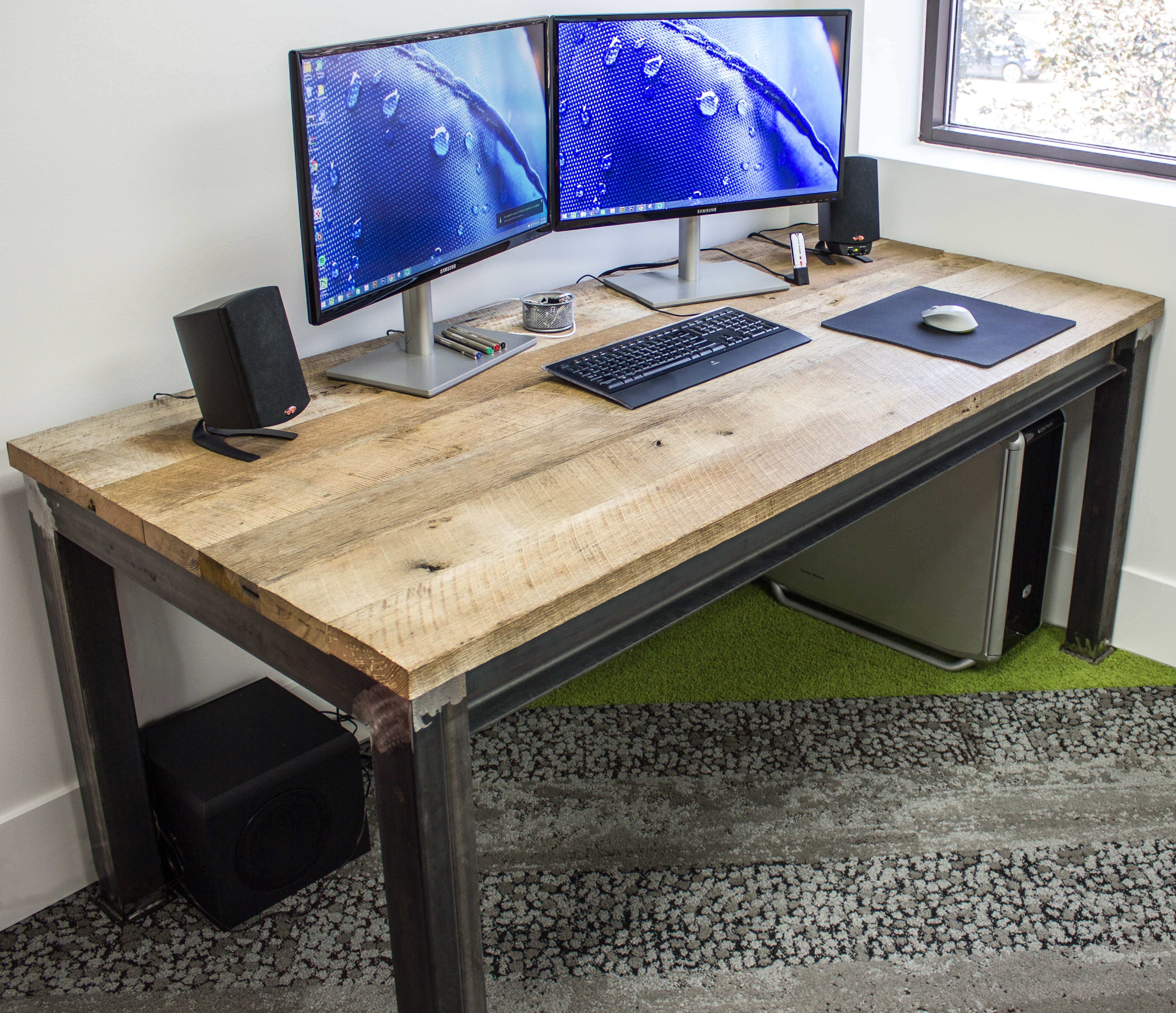 Buy A Custom Made Industrial Steel Amp Reclaimed Wood Desk