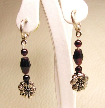 Custom Made Wild Rose & Garnet Hoop Post Dangle Earring