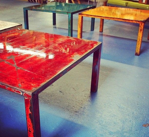Square Industrial Coffee Table By Hrdla Design For Sale At: Hand Crafted Steel Coffee Tables With Multi-Layered Color