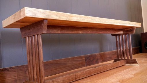 Custom Made Modern Mission-Style Bench | Pickled Oak And Black Walnut