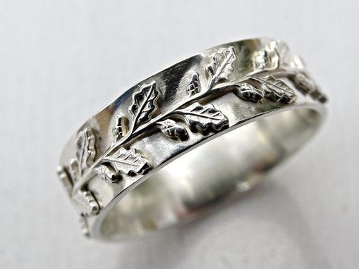 Custom Made Meval Wedding Ring Silver Fairy Tale Band Pagan Oak Leaf