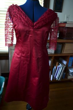 Custom Made Red Satin And Lace Dress