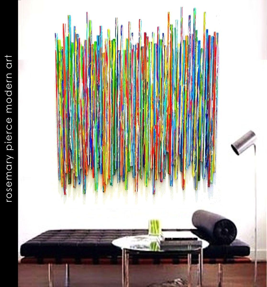Custom made life experiences original drip stick sculpture custom abstract original painted wood wall sculpture