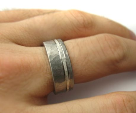 Custom Made Men's Wedding Band Titanium & Silver Hammered