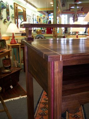 Custom Made Black Walnut Stand-Up Desk With Maple Inlay.