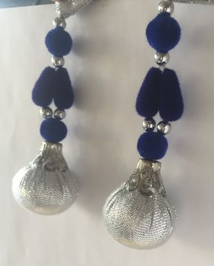 Custom Made Royal Blue Silk Fabric, Silver Beads Hanged In Silver Shimmer Fabric ,Could Be Hanged In Thread Too.