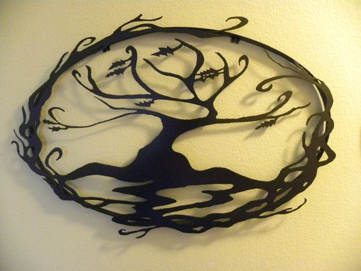 Custom Made Oval Abstract Tree Of Life Metal Wall Art