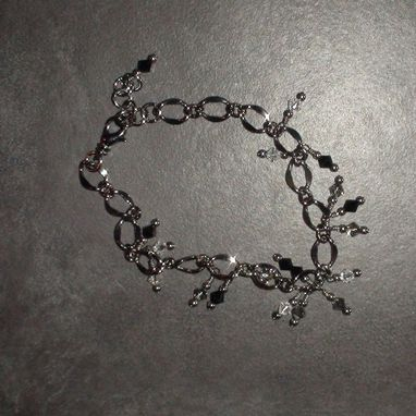 Custom Made Gunmetal Chain Bracelet With Wirewrapped Swarovski Crystals