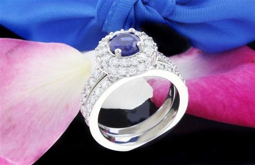 Custom Made Blue Sapphire & Moissanite Engagement Ring And Bridal Set